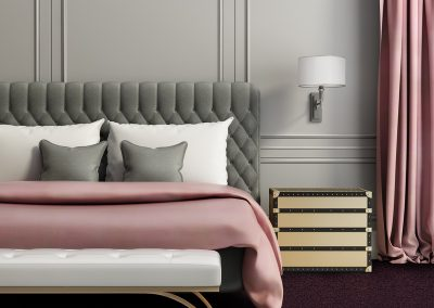Contemporary elegant luxury pale red and grey bedroom